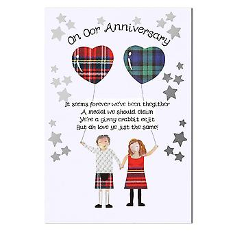 Embroidered Originals On Oor Anniversary Card With Heart Balloons