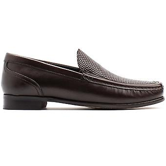 Base London Mens Corin Washed Slip On Leather Loafer Shoes
