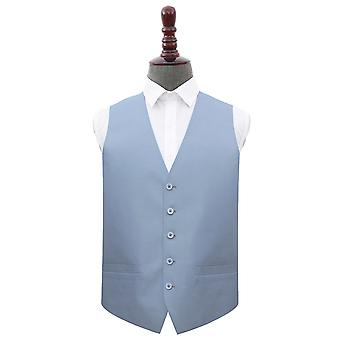 Dusty Blue Plain Shantung Wedding Waistcoat