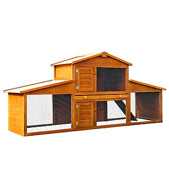 PawHut Deluxe Fir Wood Rabbit Hutch 2-Tier House Hutch Metal Wire 2 Doors Ramp Asphalt Roof Guinea Pig Small Animal Home House Outdoor