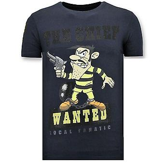 T-Shirt Print - The Chief Wanted - Niebieski