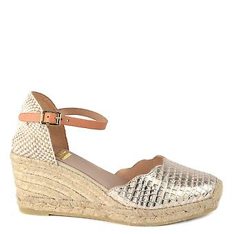 Kanna Laura Gold Embossed Espadrille Wedge Sandal