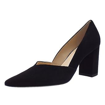 Högl 6-10 7502 Metropolitan Chic Pointed Toe Court Shoes In Black Suede