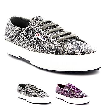 Womens Superga 2750 Cotsnakew Low Top Lace Up Casual Snake Skin Trainers