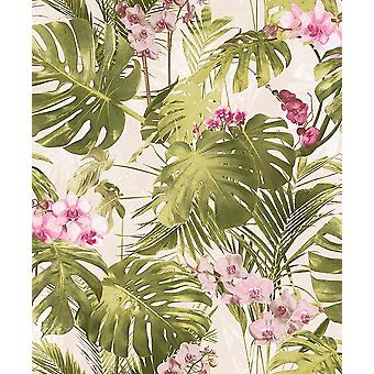 Myriad Floral Wallpaper Pink Orchid Flowers Tropical Leaves Botanical Textured