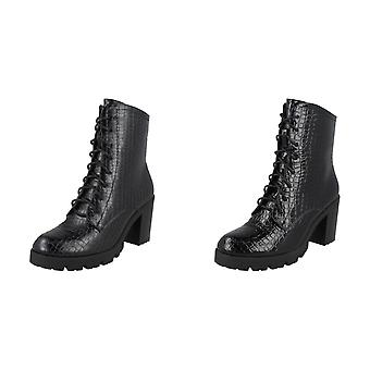 Spot On Womens/Ladies Chunky Heel Lace Up Ankle Boots