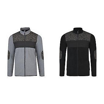Durf 2B Mens Incluse Full Zip Knit Effect Fleece Sweater