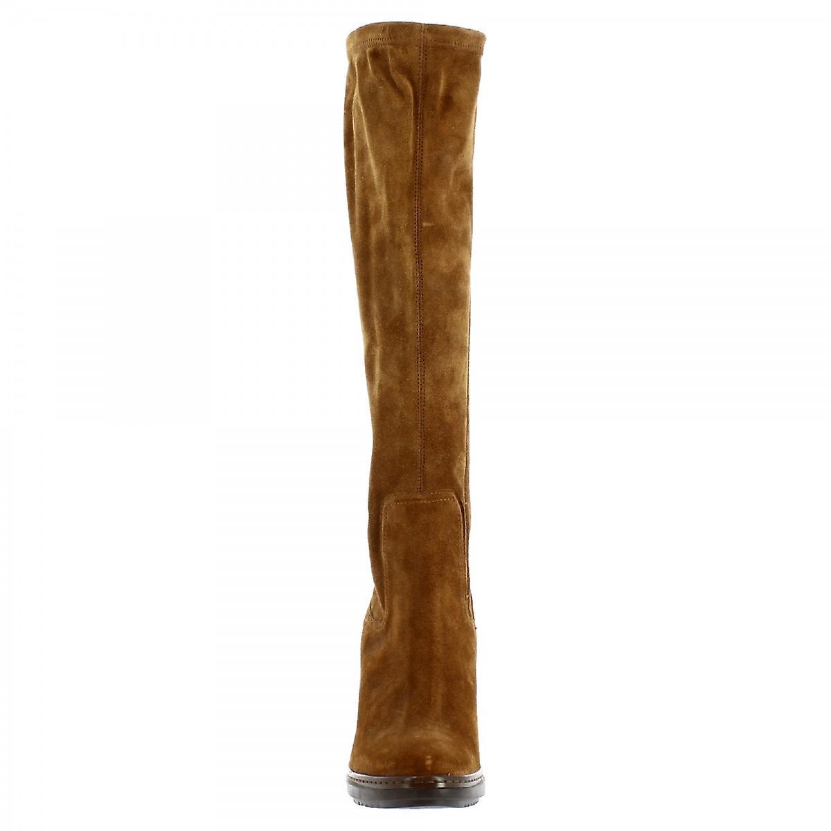 Leonardo Shoes Women's handmade heels knee high boots in tan suede leather 0OXUC
