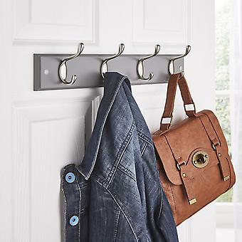 Quality Heavy Duty 4 Double Coat Hooks Wall Or Door Mountable Grey Wooden Board With FREE Fixings