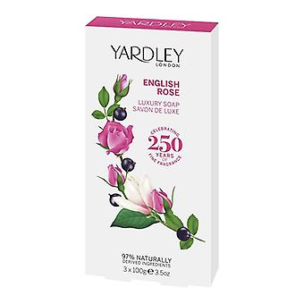 Yardley London English Luxury Soap - English Rose - Sensual Elegant Flowers Fragrance 3x100g