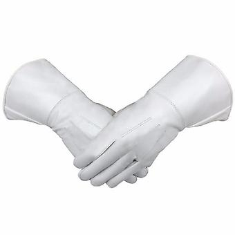 Masonic piper drummer leather gauntlets/gloves white soft leather knight templar