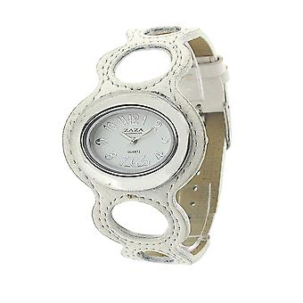 Zaza London Ladies Ring Design White Dial & Leatherette Strap Watch LLB864