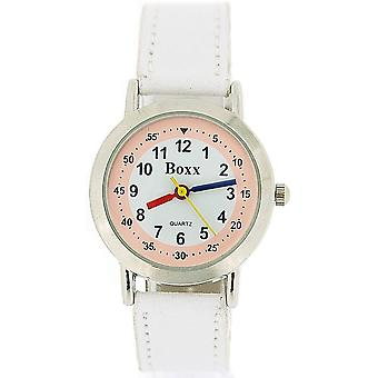 Boxx Girls Easy Read Analogue White Dial & White Fabric Strap Buckle Funky Watch