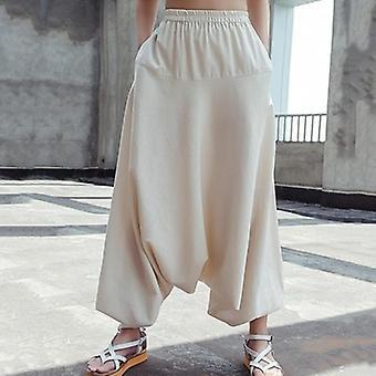High Elastic Waist Irregular Cross-pants
