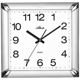 Atlanta 4457/19 Wall clock Quartz analog silver square quiet without ticking