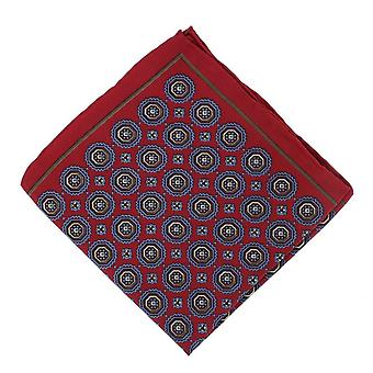 Michelsons of London Vintage Medallion Silk Pocket Square - Red
