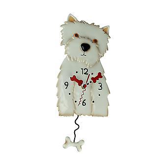 Allen Designs Westin der weißen Westie Hund Pendel Wanduhr
