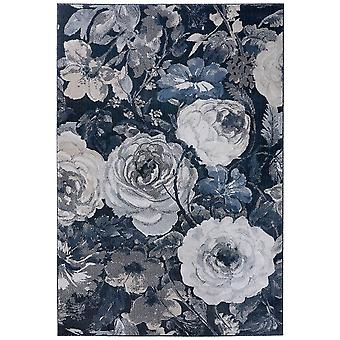 Supersofter Floral Kurzflor Teppich Peony Grau Blau