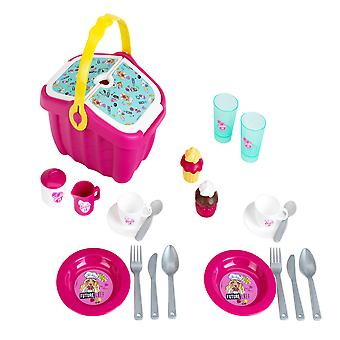 theo klein pink barbie picnic basket with accessories for ages 3 and above