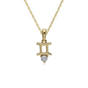 Pearl Gemini Zodiac Charm Necklace in 9ct Yellow Gold 135P1997019