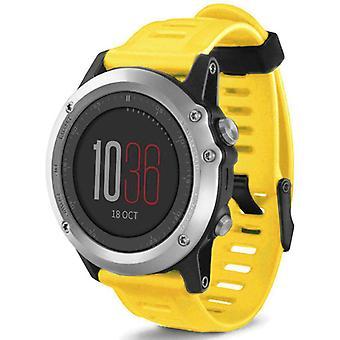 Watch bracelet made by strapsco for garmin fenix 3 yellow silicone watch strap
