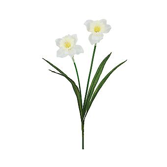 60cm White Double Fabric Daffodils - Artificial Silk Flowers