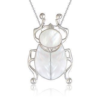 ADEN 925 Sterling Srebrny Biały Naszyjnik z wisiorka z perły (id 2925)