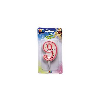 Sweet Pink Number Candle - No 9