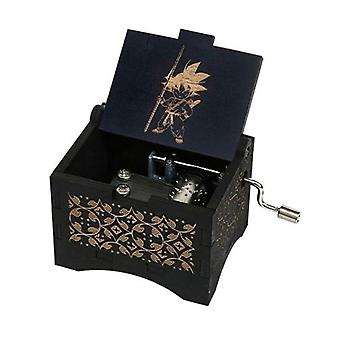 Dragon Ball Hand Crank 18 Tones Black Wooden Music Box For Christmas, Birthday