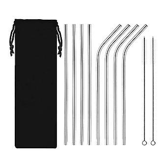 10PCS 304 Słomki metalowe ze stali nierdzewnej z płócienną torbą Srebrną