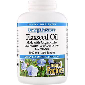 Natürliche Faktoren, Omega-Faktoren, Leinsamenöl, 1000 mg, 360 Softgels