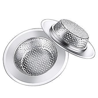 2Pcs Kitchen Stainless Steel Sink Strainer Mesh Silver 11.5x11.5x2.2cm