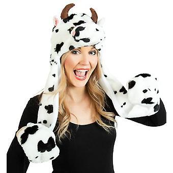 Mütze Kuh mit Handwärmer Plüsch ca. 85 cm Länge