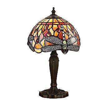 1 Lâmpada de Mesa Clara Bronze Escuro, Vermelho, Tiffany Style Glass, E14
