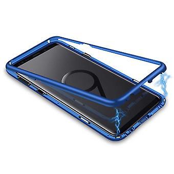 スタッフ認定®サムスンギャラクシーS9プラス強化ガラス付き磁気360°ケース - フルボディカバーケース+スクリーンプロテクターブルー