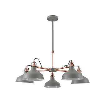 Morgan Telescopic 5 Light, 5 X E27, Sand Grey/copper/white