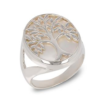 ADEN 925 Sterling Silver White Mother-of-pearl Tree of Life Round Shape Ring (id 4174)