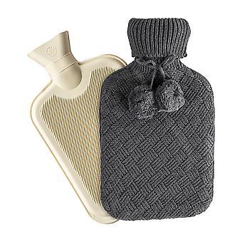 Heißwasserflasche mit gestricktem Cover - klassische kurze gerippte Gummiflasche mit Schraube Stopper - 2 Liter - dunkelgrau