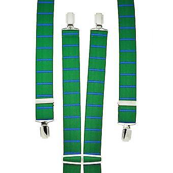 Krawatten Planet grün & Kobalt blau horizontal gestreift Men's Hosenträger