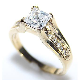 Ah! Jewellery Ladies Princess Cut 6mm Simulated Diamonds Ring. Gold Over Stainless Steel, Stamped 316.