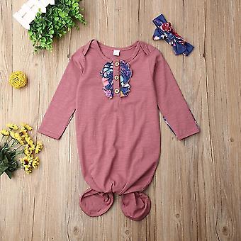لطيف الأزهار الطفل النوم حقيبة حديثي الولادة التفاف مغطي بطانية + عصابة الرأس مجموعات بوي