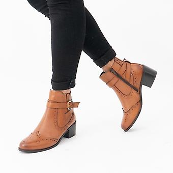 Hush Puppies Rayleigh Ladies Leather Ankle Boots Tan