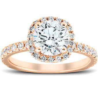 G/VS 2 Ct Moissanite & Diamond Cushion Halo Engagement Ring 14k Rose Gold