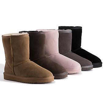 Aus Wooli Australia Water-Resistant Unisex Genuine Au Sheepskin Mid Calf Boots