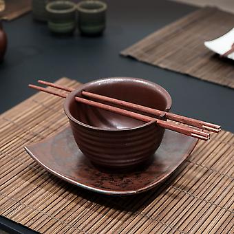 Rust Glaze Rice Bowl With Square Plate And Chopsticks Set