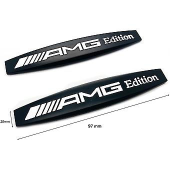 Gloss Black Mercedes AMG Edition Badge Emblems For All AMGs W176 W204 W205 97mm x 20mm (1 Pair)