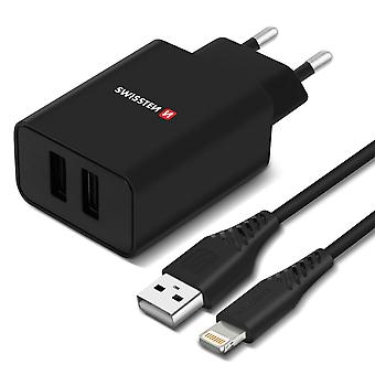 Dual USB 2.1A Smart IC Mains Charger + iPhone iPad Cable Swissten Black