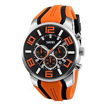 SKMEI 9128 Chronograph Sport Men Wrist Watch Silicone Strap Waterproof Quartz