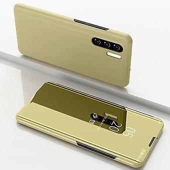 Galaxy Note 10 Pro / Plus sähkölevypeili vaakasuuntainen flip PU nahkakotelo, jossa pidike (kulta)