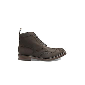 Loake Bedale Boot In Dark Brown Waxed Sued Dark Brown Waxed Suede